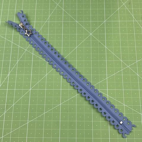 Молния  декоративная  25 см (голубая).