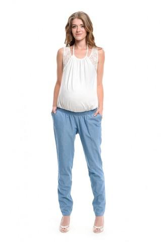 Полукомбинезон для беременных и кормящих цвет молочный/джинс