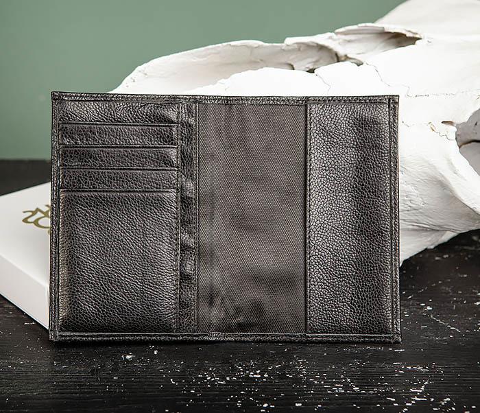 BC216-1 Обложка для паспорта и карт из натуральной черной кожи «Santini» фото 03