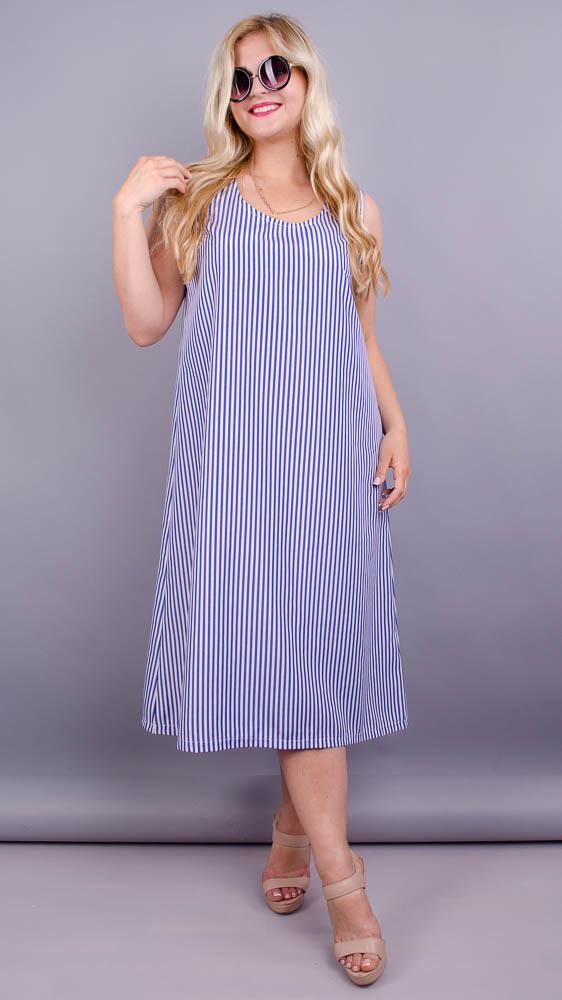 Море. Практична сукня великих розмірів. Синя смуга.