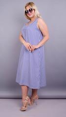 Море. Практичное платье больших размеров. Синяя полоса.