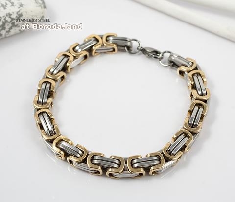 Стильный стальной браслет с золотыми и серебристыми звеньями (22 см)