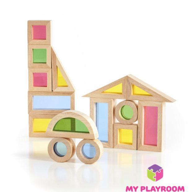 Деревянный конструктор радужные блоки с цветными безопасными стёклышками в фигурных рамах, 20 деталей, 6 разных форм
