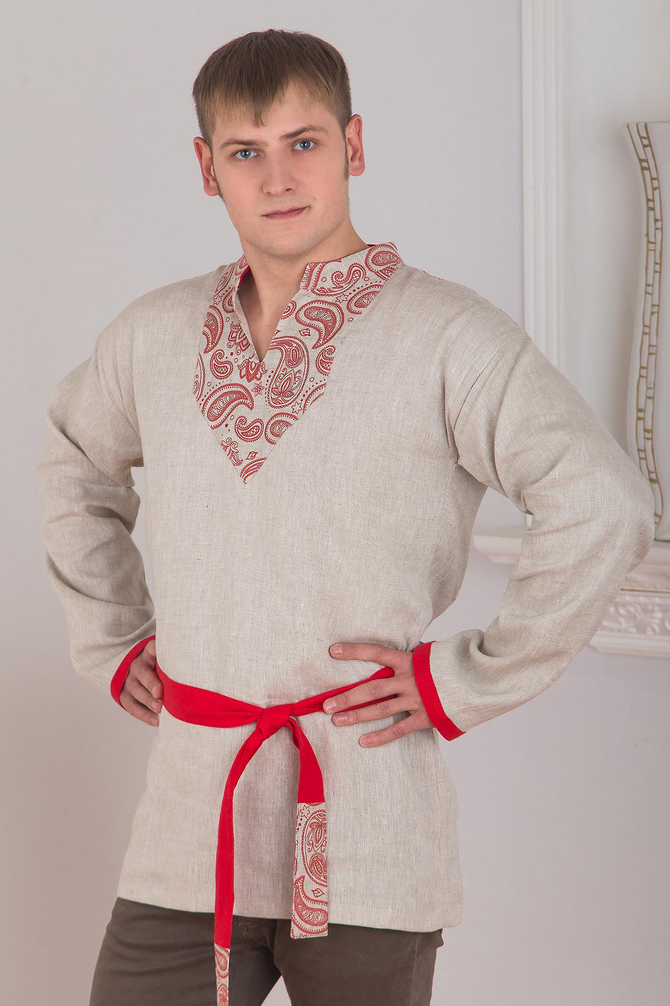 Рубаха льняная мужская с поясом
