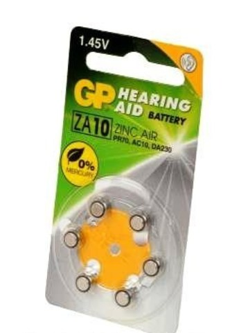 Батарейки для слуховых аппаратов GP ZA10-D6
