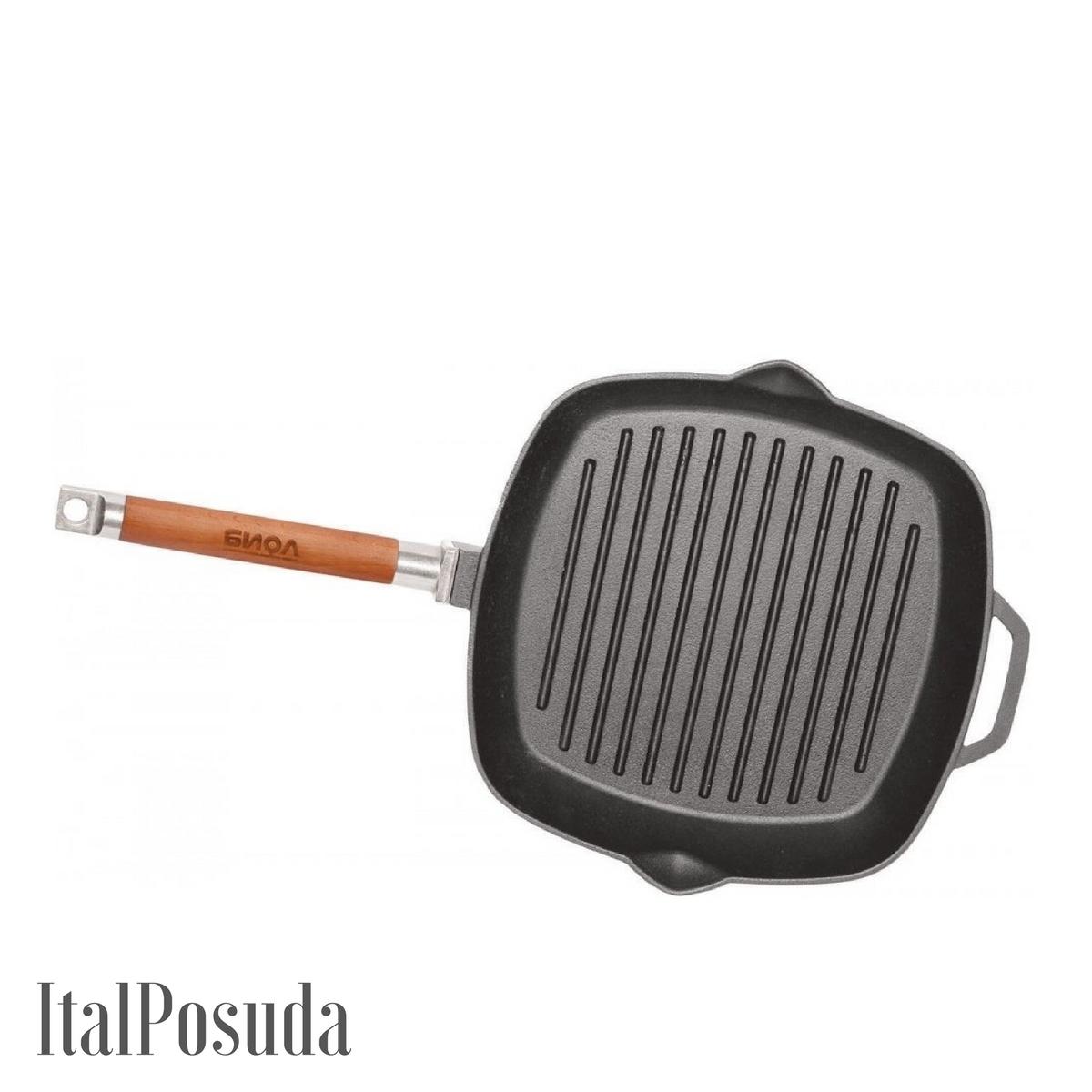 Сковорода Гриль БИОЛ чугунная 26х26 см со съемной ручкой