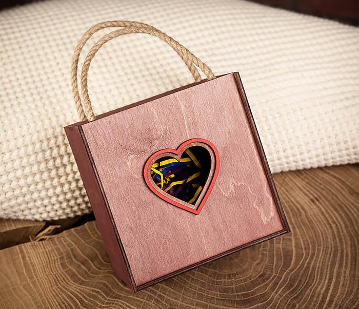 BOX210-3 Коробка с веревочными ручками фиолетового цвета фото 01