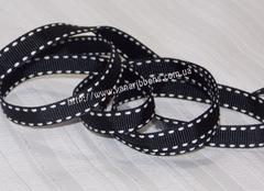 Лента репсовая Черная со строчками ширина 9 мм