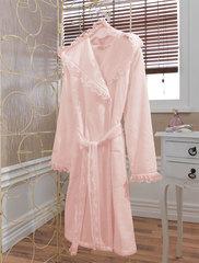 LUNA- ЛУНА  Розовый махровый женский халат Soft Cotton (Турция)