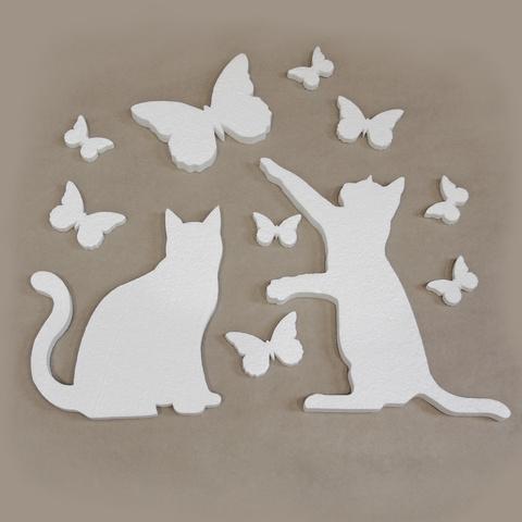 Коты и бабочки из пенопласта