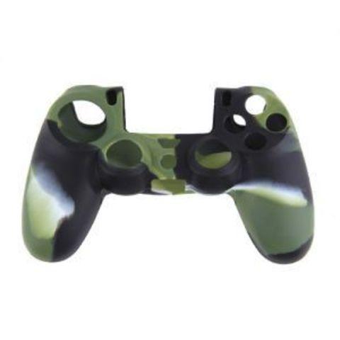 PS4 Чехол для геймпада DualShock 4 (камуфляж зеленый) + накладки