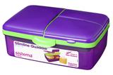 Ланч-Бокс Sistema 4-Х секционный с бутылкой, фиолетовый 2л