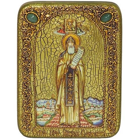 Инкрустированная икона Преподобный Никита Столпник, Переславский чудотворец 20х15см на натуральном дереве, в подарочной коробке