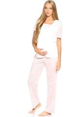 Евромама. Пижама футболка и брюки ем 1408 розовая, размер 42