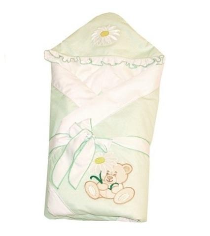 Конверт-одеяло для новорожденных на выписку Ромашка салатовый