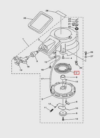 Пружина стартера большая  для лодочного мотора T15, OTH 9,9 SEA-PRO (7-7)