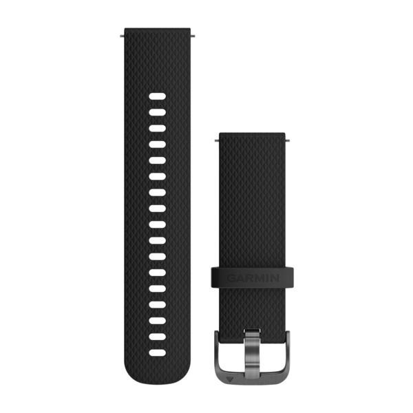 Силиконовый ремешок Garmin черный с серым стальным креплением