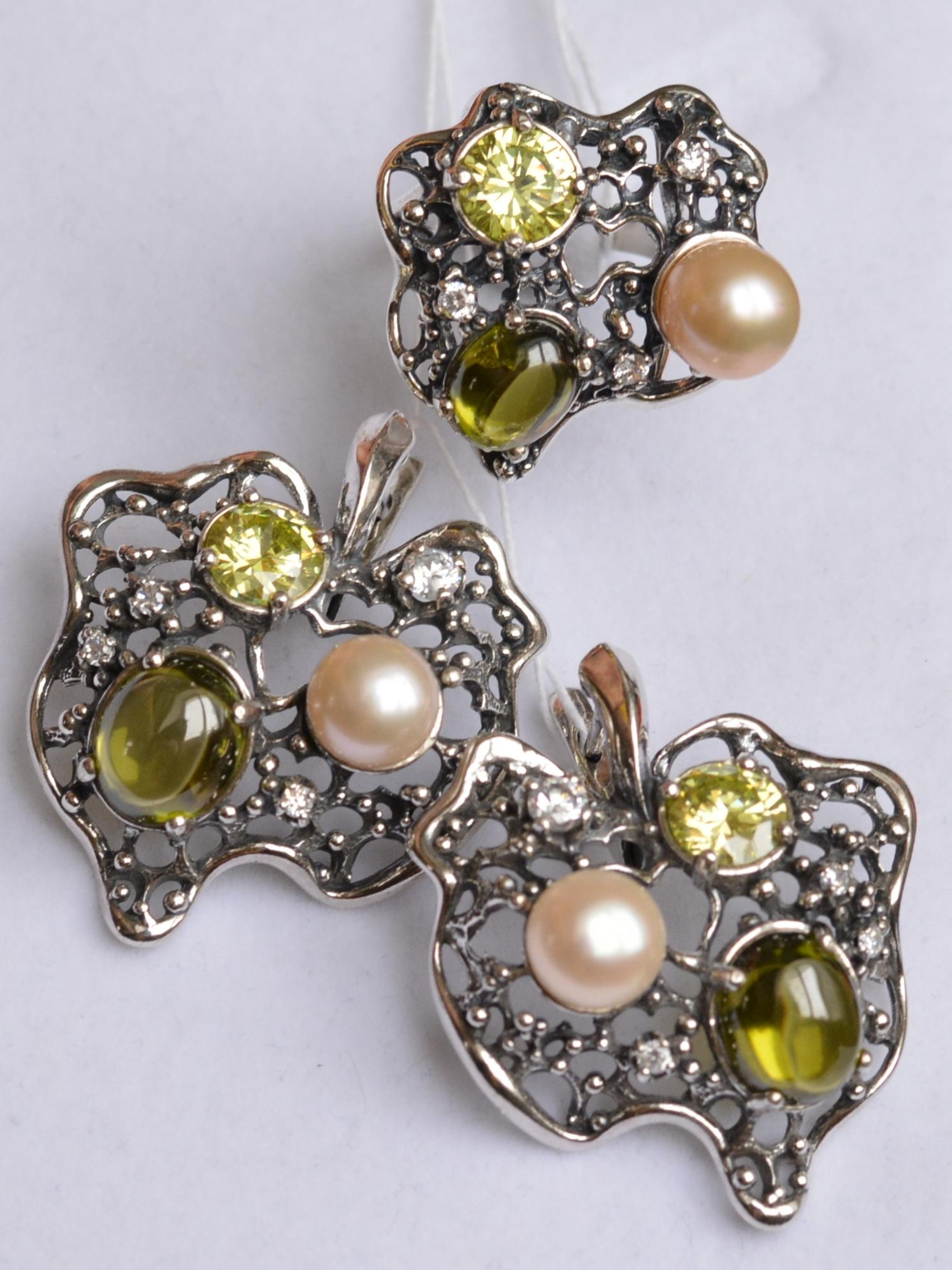 Атолл (кольцо + серьги из серебра)