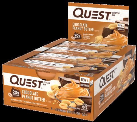 Протеиновые батончики Quest Bar Chocolate Peanut Butter (Шоколад с арахисовым маслом), 12 шт
