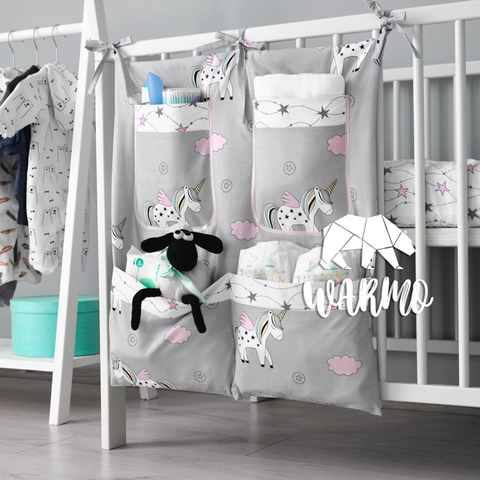 органайзер на ліжечко з сірими єдинорогами фото