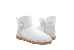UGG Mini Bailey Button Bling Metallic White