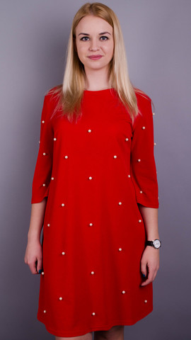 Жемчуг. Стильное платье плюс сайз для женщин. Красный.