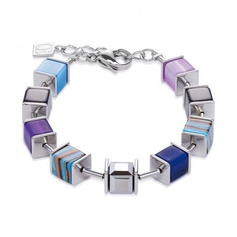 Браслет Coeur de Lion 4747/30-0708 цвет синий, серый, фиолетовый, полосатый
