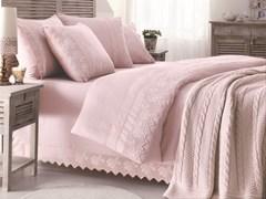 Набор КПБ с пледом Gelin Home ERGUVAN темно-розовый евро