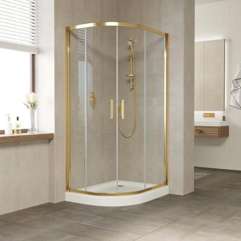 Душевой уголок Vegas Glass ZS-F профиль золото, стекло прозрачное