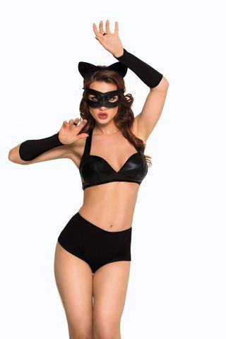 Костюм кошечки SoftLine Collection Catwoman (бюстгальтер, шортики, головной убор, маска и перчатки), чёрный, L фото