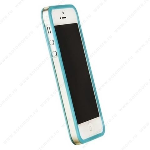 Бампер GRIFFIN для iPhone SE/ 5s/ 5C/ 5 голубой с прозрачной полосой