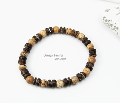Мужской браслет из кокоса и камня Diego Ferru, ETHNO