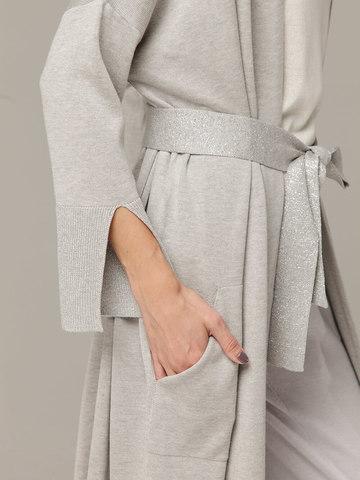 Кардиган в цвете серый меланж из струящегося шёлка с кашемиром - фото 3