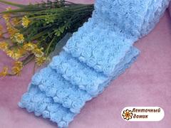 Ткань Розы на сетке голубая