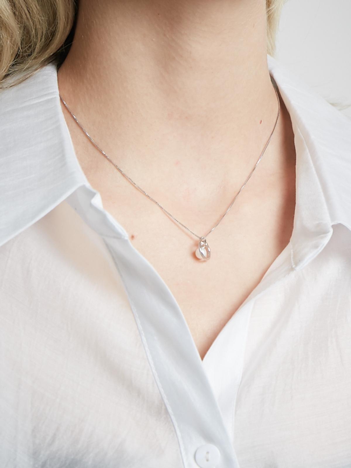 Ожерелье с подвеской Круг с жемчужиной