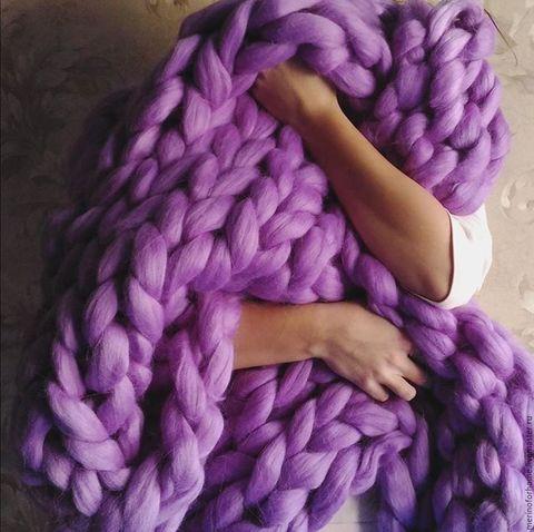 Плед из шерсти мериноса, лиловый