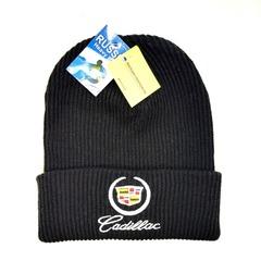 Вязаная шапка с вышитым логотипом Крайслер (Chrysler) черная фото 2