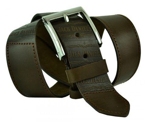 Мужской широкий кожаный прошитый коричневый ремень 45 мм для джинсов