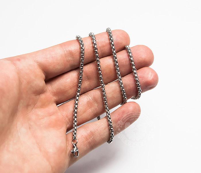 PM249-1 Мужская стальная цепочка серебристого цвета (60 см) фото 04