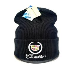 Вязаная шапка с вышитым логотипом Крайслер (Chrysler) черная