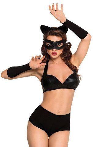 Костюм кошечки SoftLine Collection Catwoman (бюстгальтер, шортики, головной убор, маска и перчатки), чёрный, М фото
