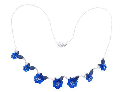 Колье с цветами из синего кварца и сапфиром Арт.5098/7сс