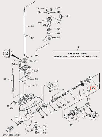 Подшипник задней передачи 6004 для лодочного мотора F9,9 Sea-PRO (25-13)