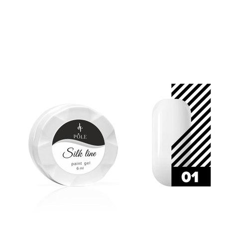 Гель-краска для тонких линий POLE Silk line №01 белая (6 мл.)