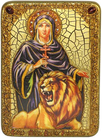 Инкрустированная Икона Святая мученица Дария Римская 29х21см на натуральном дереве, в подарочной коробке