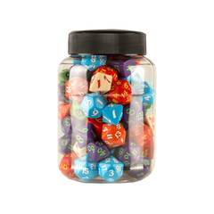 Round Jar of Classic RPG Dice (80)
