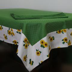 Скатерть 140x180 и 6 салфеток Old Florence Girasoli зелёная