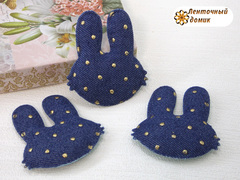 Мягкий декор джинсовые зайцы в горошек