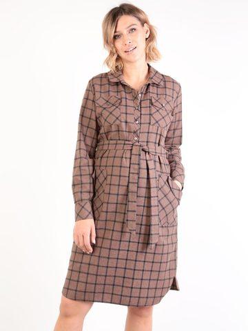 Евромама. Платье-рубашка для беременных и кормящих, коричневый