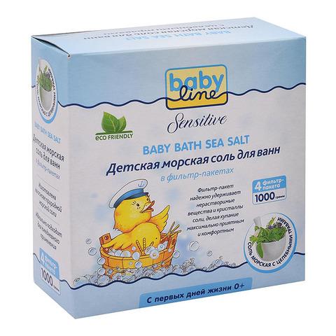 Babyline Sensitive. Детская морская соль для ванн с целебными травами в фильтр-пакетах, 1000 г